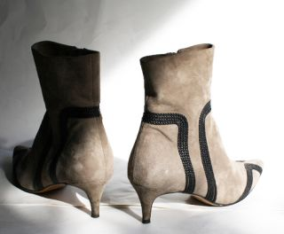 700 Super RARE Loewe Leather Braid Detailed Suede Gucci Ankle Boots