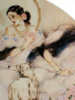 Lady of Camilias Print Louis Icart Romantic Art Deco Elegant Hispanic