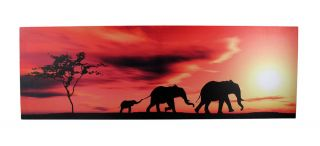 African Sunset Elephant Family Silhouette Nylon Canvas Wall Hanging