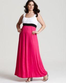 Love ady New Pink Knit Colorblock Sleeveless Empire Waist Maxi Dress