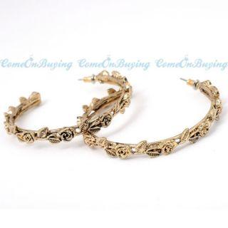 Golden Rose Floral Pattern Style Loop Hoop Earrings A836