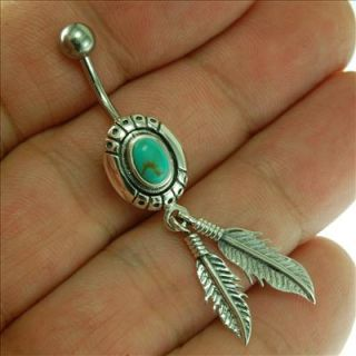 Silver Native American Belly Button Navel Ring Turquois