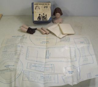 Vintage Louisa May Alcott Little Women Jo Bisque Porcelain Doll Kit w