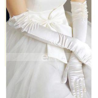 White Elegant Satin Long Wedding Pearl Bridal Gloves