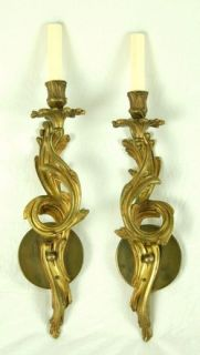 Vintage Pair French Louis XIV Style Bronze Wall Sconces