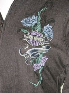 Harley Davidson Womens B s Rose Banner Full Zip Mock Neck Jacket L Hot