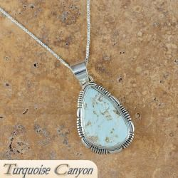 Navajo Indian Dry Creek Turquoise Necklace Pendant 5H2