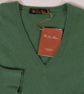 Loro Piana Sweater $795 Green 100 Cashmere V Neck Jumper Sweater Med