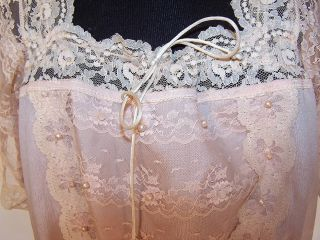 Vintage Lorrie Kabala Victorian Style Pink Silk Lace Camisole Blouse