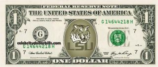 LSU Tigers College Dollar Bill Uncirculated Mint US Currency Cash