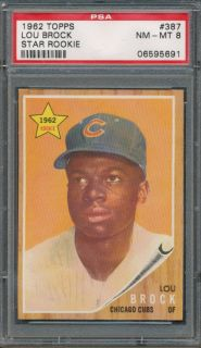 1962 Topps 387 Lou Brock RC PSA NM MT 8