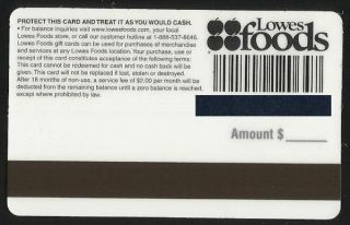 LOWES FOODS Grocery Collectible No Value Gift Card   CAKE   Buy 6 Ship