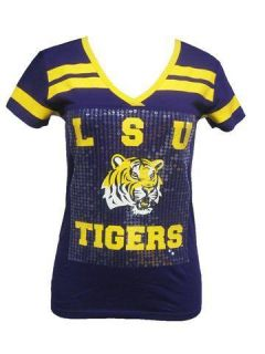 LSU Tigers Louisiana State Ladies Jersey Style Sequin T Shirt
