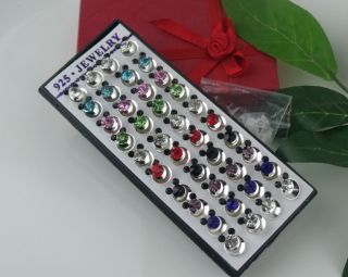 Wholesale Los 40pcs Silver Bear Pierced CZ Stud Earrings