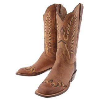 Lucchese Tan Mad Dog Goat Leather Womens Cowboy Boots