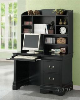 Louis Philippe Black Finish Wood Computer Desk Hutch