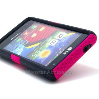 Pink Apex Hard Case for LG Lucid 4G VS840 Verizon Dual Layer Gel Skin