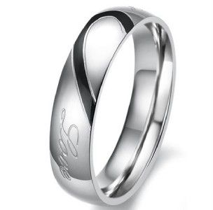 Stainless Steel Real Love Engraved Wedding Band Fashion Couple Rings