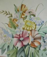 Antique Art Deco 30s Flowers Watercolor Painting Harris