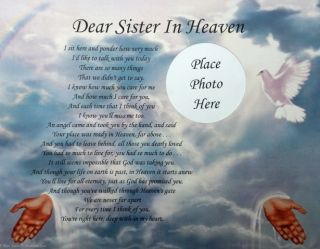 Dear Sister in Heaven Memorial Poem in Loving Memory