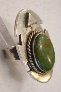 Native American Hopi Sterling Turquoise Ring Lucy Lucas Size 8