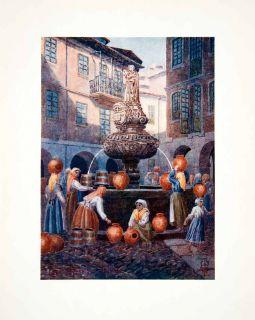 1906 Color Print Spain Lugo Fuente Fountain San Vincente Galicia Vase