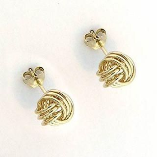 Solid Gold Love Knot Stud Earrings 14k Y/ Gold 1.60gr Free Worldwide