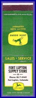 1950s John Deere Tractor Matchcover ft Lupton Co