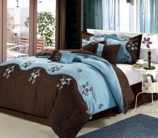 Luxury Bedding Set Brown Blue Sheet Set Pillows Bed in Bag Comforter