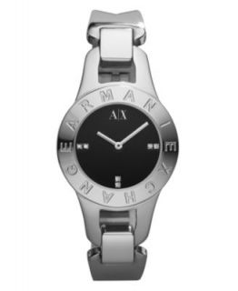 Armani Exchange Watch, Womens White Leather Strap 30mm AX4124