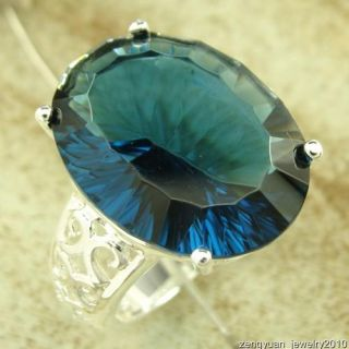 Queen Loyal Luxury Top Huge Oval London Blue Topaz 925 Silver Ring s 8
