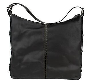 Leonello Borghi Lucrezia Leather Black Large Hobo Bag