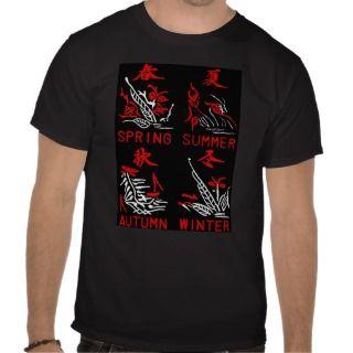 Mahjong Tiles, Four Seasons , On Black Background Tshirt