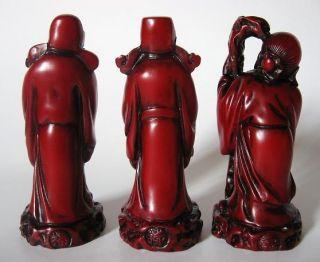 Redwood Chinese Gods Fu Lu Shou 3 Three Star Statue Feng Shui Fuk