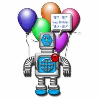 ROBOT BIRTHDAY CAKE TOPPER PHOTO SCULPTURE