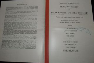 Beatles Concert Programme Vintage Pop Music Rock Roll Blackpool Opera