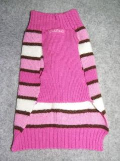 of Two Pink Dog Sweaters Heart Striped Size Medium Lulu Pink