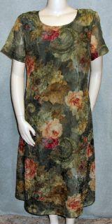 Christy Lyn Olive Gold Burnt Orange Floral Dress Silky A Line Office
