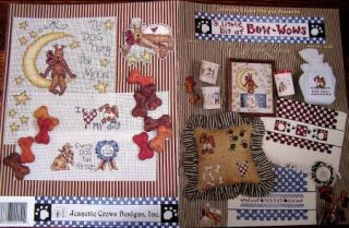 Pattern Counted Cross Stitch Alma Lynne Dog Dogs Puppy Toes Bone
