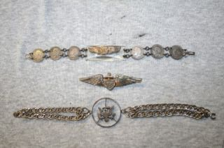 WW2 WWII US Army Air Force Army Navy Sweetheart Bracelets Pin Jewelry
