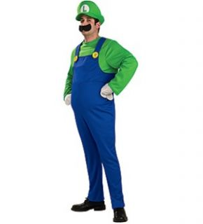 Super Mario Bros Deluxe Luigi Costume Adult Large New