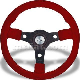 Racing Red Suede 38mm Dish Luisi Steering Wheel New