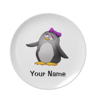 Personalized Plate, Cute Penguin Cartoon
