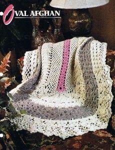 Crochet Oval Afghan Pattern : Vintage Crochet Afghan Throw Pattern Rose Flower Motif