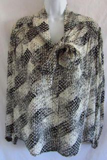 Max Studio MSSP Geometric Print Viscose Beige Black M Shirt Blouse