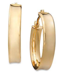 10k Gold Earrings, Ribbed Hoop   Earrings   Jewelry & Watches