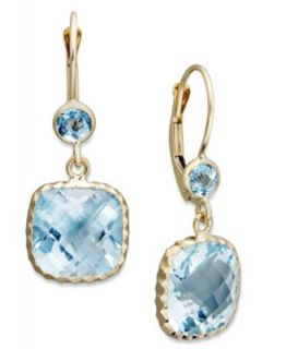 14k Gold Earrings, Blue Topaz Cushion Cut Drop (9 3/4 ct. t.w.)