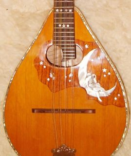 Fine Antique Flat Back German Lute Guitar Sonora