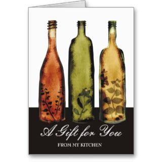 flavored vinegars bottles note card gift card,