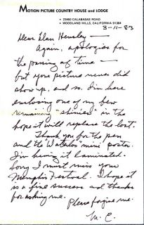 Mae Clarke Autograph Letter Signed 03 11 1983